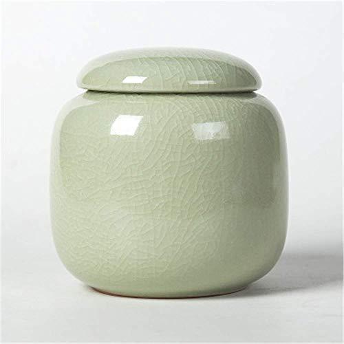 Jsmhh Mini-Keramik-Tee-Kanister, for Dekoration Küche, Lagerung Tee/Kaffee/Zuckeraufbewahrung. (Ice Riss Ceramic Kanister 380ml) (Color : A, Size : 3.7inch×3.7inch)