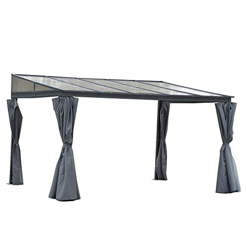 Outsunny 4 x 3(m) Outdoor Hardtop Pergola PC Roof Wall Lean to Aluminium Gazebo Party Tent Garden Sun Shelter Marquee Pavilion with Curtains, Grey