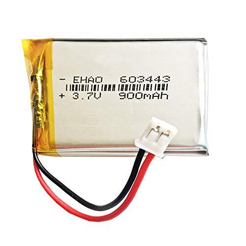 DronePost Batería 603443 LiPo 3.7V 900mAh 3.33Wh Conector JST-PH 2.54m Pins 2 Cables Recargable 43x34x6mm (JST-PH|900mAh|2.54|603443)