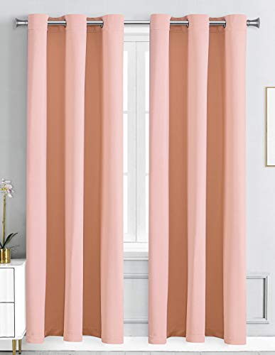 """WPM Blackout Curtain Room Darkening Panels/Drapes for Living Room, Blush Rose Pink Thermal Insulated Grommet Girls Bedroom Window Draperies (Blush, 42"""" W X 84"""" L)"""