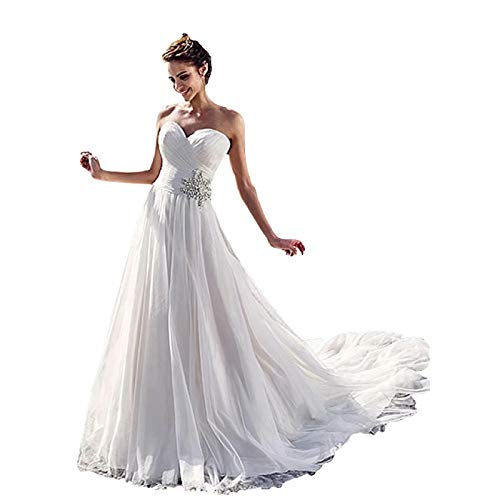Dexinyuan 2021 Bridal Prom Dress Sweetheart Wedding Dress with Long Train Beaded Off Shoulder Wedding Gowns Ivory
