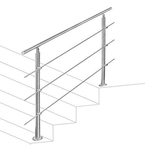 hengda Pasamanos escalera Inoxidable Barandilla 160cm acero 3 varillas Parapeto Barras Transversales