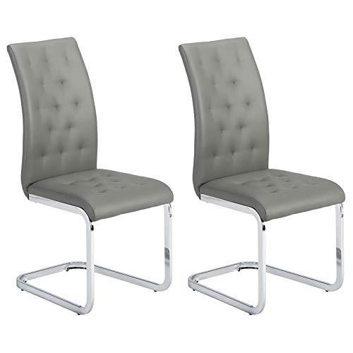 IDIMEX 2er Set Esszimmerstuhl Schwingstuhl Freischwinger Chloe, in grau, Metallgestell hochwertig verchromt