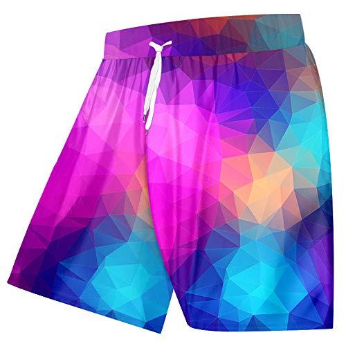 Kurze Hosen Herren Shorts Herren Strand Shorts Rhombus Farbblöcke 3D Cool Print Mode Herren Board Shorts Fitness Hose Plus Size Quick Dry-Rainbow_XL
