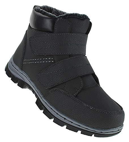 Bootsland Klett Winterstiefel Stiefel Winterschuhe Herrenstiefel Herren 080, Schuhgröße:45, Farbe:Schwarz