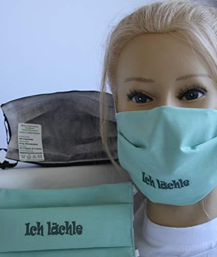 Textil Design Maske - waschbar - aus weicher Baumwolle, mit zertifiziertem Innenvlies - MINTGRÜN Aufdruck ICH LÄCHLE