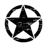 bobeini 50cm Pegatinas Grandes en Coches Army Star Pegatinas desgastadas para Jeep Pegatinas de Vinilo Grande Capucha Militar Cuerpo gráfico Que se Adapta a la mayoría de los vehículos Negro