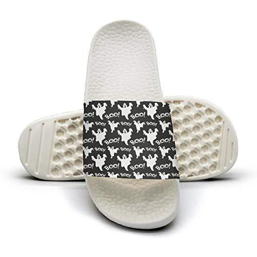 Young Men Best Slipper Cool Black Halloween Boo Ghostwhite Memory Foam Open Toe Flat Sports Slide Sandal