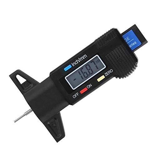 YANSHON Reifen Profiltiefenmesser Reifenprofilmesser Auto Tiefenmesser Motorrad Profilmesser Messschieber LCD Display, 0-25 mm
