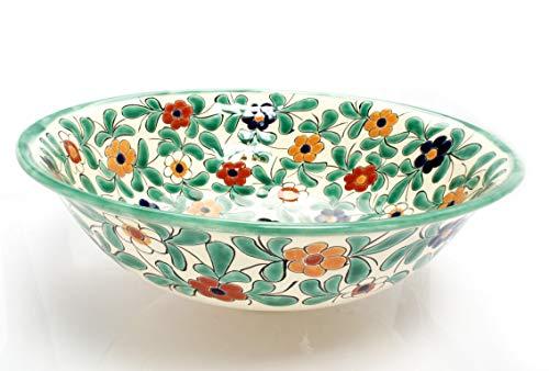 Consuela - Lavabo mexicain fait main - Cerames - Lavabo de 40,5 cm x 15 cm - Lavabo vert pour salle de bain, WC d'invités