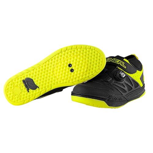 O'NEAL | Chaussures de vélo | VTT DH FR Descente Freeride | Compatible avec pédales SPD, système de laçage Rapide, matière Respirante | Chaussures Session SPD | Adulte | Noir-Jaune Fluo | Taille 44
