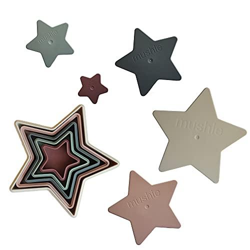 mushie Juego de mesa apilable Nesting Stars con 5 estrellas nido | 100% libre de BPA | apilable juguete para niños de 0 a 3 años (original)