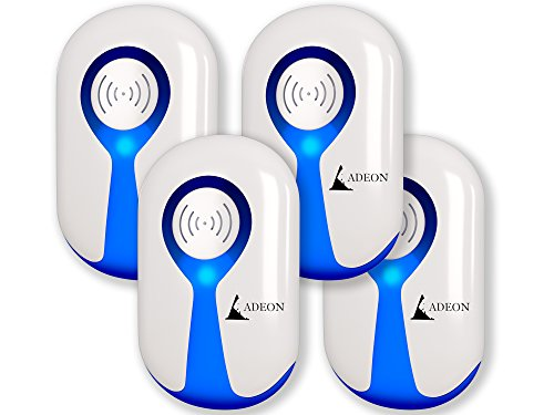 ADEON Ultrasonic Pest Repeller - Pest Control - Pest Repeller - Electronic Pest Repeller Plug in - Bug Repellent - Repel Insect Rat Roach Mice Ant Spider Mosquito [4 Pack]