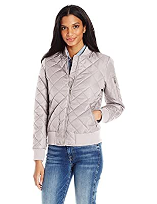 7 For All Mankind Women's Water Repellent Nylon Bomber Jacket, Grey, XL from 7 For All Mankind Women's Outerwear