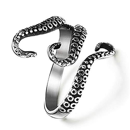 Idiytip Retro Octopus Clamps Titan Stahl Ring Punk Manschette Ring Verstellbarer Ring für Männer Frauen Schmuck Geschenk