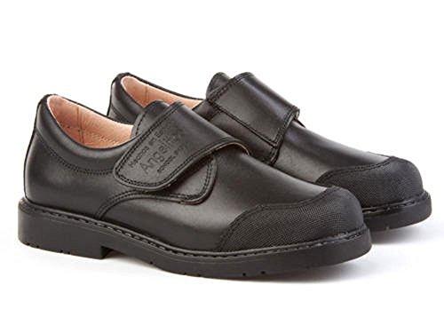 Zapatos Colegiales con Puntera Reforzada Todo Piel, Mod.452. Calzado Infantil (Talla 38 - Negro) - AngelitoS