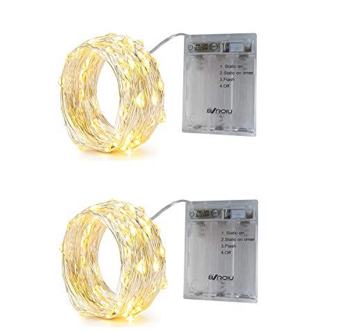BXROIU 2 x 50er Micro LED Lichterkette Batterie betrieb 3 Programm und Timer Auf 5 Meter Silberdraht für Party, Weihnachten, Halloween, Hochzeit Deko (Warm weiß)