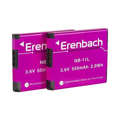 Erenbach - Set di 2 batterie premium per Canon IXUS 190/185/170, ricambio per Canon NB-11L