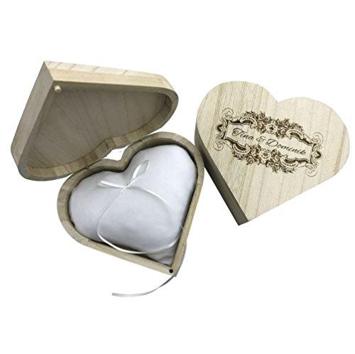 KATINGA Ringkissen in Herzschatulle aus Holz mit Gravur der Namen (mit Ringkissen)
