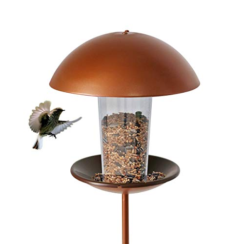 LIMEIDE Goodeco Wild Bird Feeder with stake for Garden Yard Outside,Pole Bird feeder Stand on Ground, Poles in Backyard Garden, Patio,Gift idea for Parents and nature lovers,142cmH(Round)