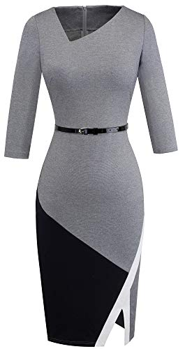 HOMEYEE Women's Elegant Patchwork Sheath Sleeveless Business Dress B290 (M, Grey)