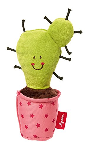 Sigikid Sigikid41435 Rattle Cactus, Red Stars Soft Toy-15 x