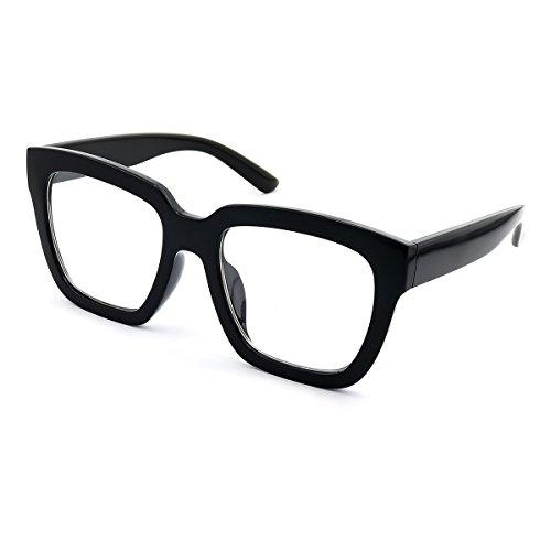 KISS Neutrale Brille Superb mod. HORNY - Modediva WOMAN Vintage OVERSIZE optischer Rahmen aus den 50er und 60er Jahren - SCHWARZ V1