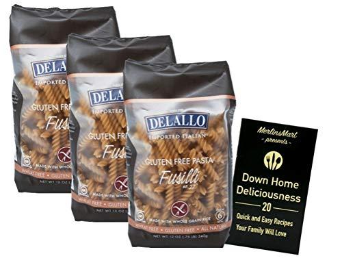 DeLallo Gluten Free Pasta | Made with Whole Grain Rice | Fusilli No. 27 (12 Ounces) | 3 Count Plus Recipe Booklet Bundle