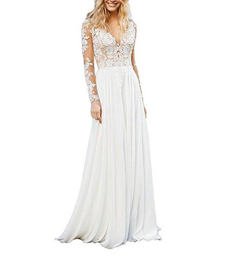CLLA dress Damen Chiffon Hochzeitskleid Mit Langarm Tiefer V-Ausschnitt Brautkleider Brautmode Brautjungferkleider(Elfenbein,40)