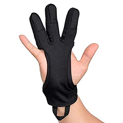 Huang gui Archery Shooting Gloves Three Finger Gloves of Non-Slip Mat Pad Suitable for Left Hand or Right Hand Color Black