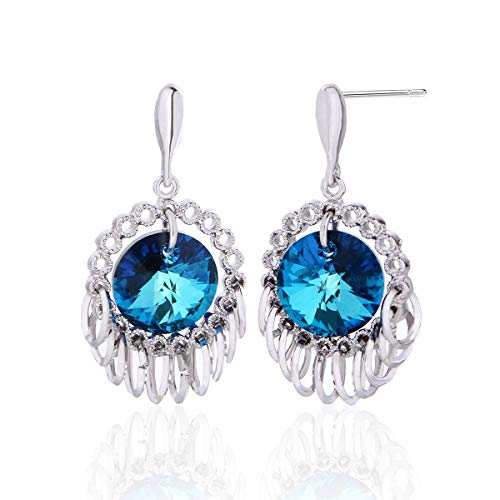 Swarovski Crystal Earrings 14K Plated Sterling Silver Fashion Circle Blue Round Color Change CZ Dangle Earrings for Women Girls Wedding Party Prom Pageant Hypoallergenic Formal Jewelry