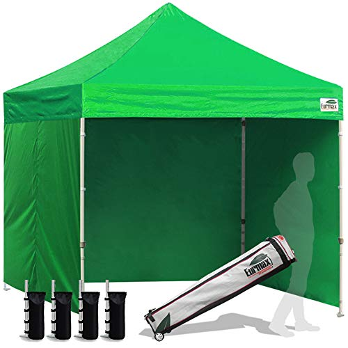 Eurmax 8x8 Feet Ez Pop up Canopy Tent, Pop-up Instant Tent, Outdoor Canopies Tent Commercial Gazebo with Sidewalls and Roller Bag, Bonus 4 SandBags, (Kelly Green)