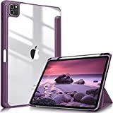 Fintie Hülle für iPad Pro 11 2021 (3. Generation) - [Eingebauter Stifthalter] Stoßfeste Abdeckung mit Transparent Klar Hartschalen Rückseite Schutzhülle für iPad Pro 11