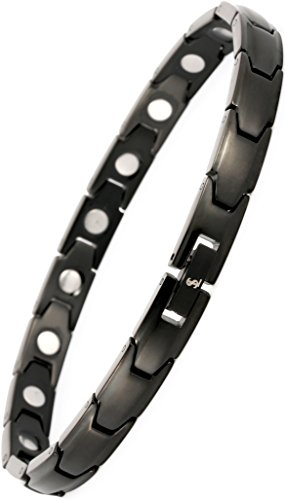 Elegant Womens Titanium Magnetic Therapy Bracelet Pain Relief for Arthritis and Carpal Tunnel (Black)
