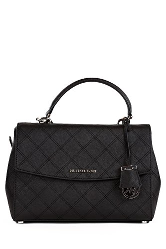 Gorgeous and durable Saffiano black leather with polished silver hardware Measures approx. 11.5 inch (W) x 8 inch (H) x 4.5 inch (D) Flap top with hidden magnetic closure; top handle with 4 inch drop Fully lined interior with multifunction pockets; e...