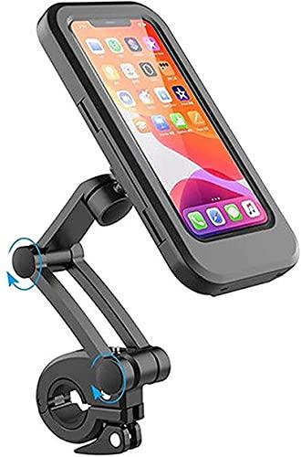 wgkgh Soporte de Montaje en Estuche Impermeable para teléfono móvil de Bicicleta de 6.5', con Pantalla táctil, rotación de 360 ° Soporte de navegación Plegable,Motocicletas Soporte para teléfono
