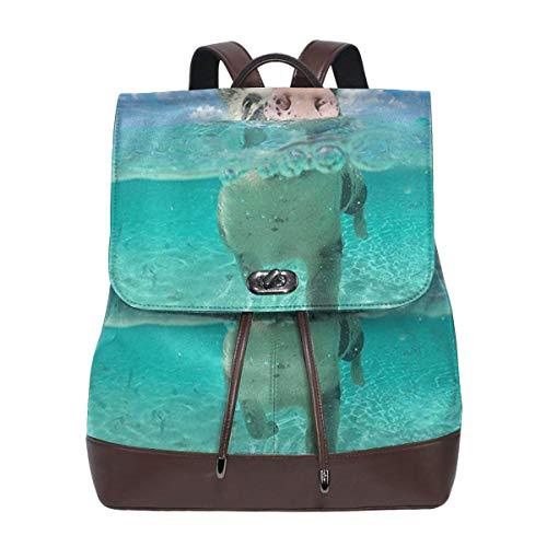 SGSKJ Rucksack Damen Schwimmendes Schwein, Leder Rucksack Damen 13 Inch Laptop Rucksack Frauen Leder Schultasche Casual Daypack Schulrucksäcke Tasche Schulranzen