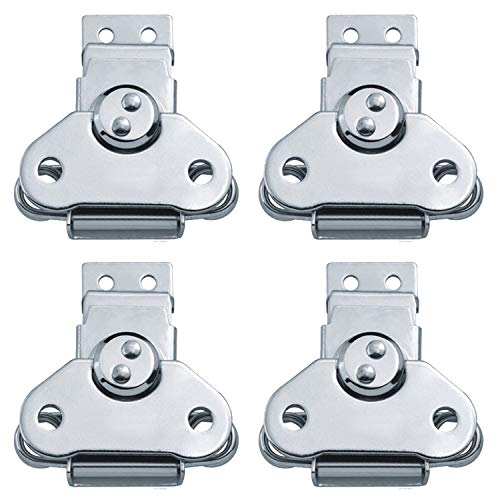EWONICE 4Pack Steel Spring Loaded Small Butterfly Twist Latch and Keeper Zinc Toggle Clamp Small Surface Mount Case Box Chest Closure