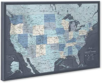US Travel Map with Push Pins on Canvas Detailed USA pin map Large US Wall Map Pin Board Map product image