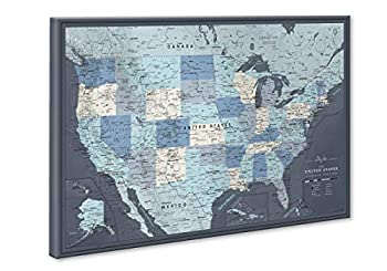 US Travel Map with Push Pins on Canvas - Detailed USA pin map - Large US Wall Map Pin Board - Map of National Parks in United States