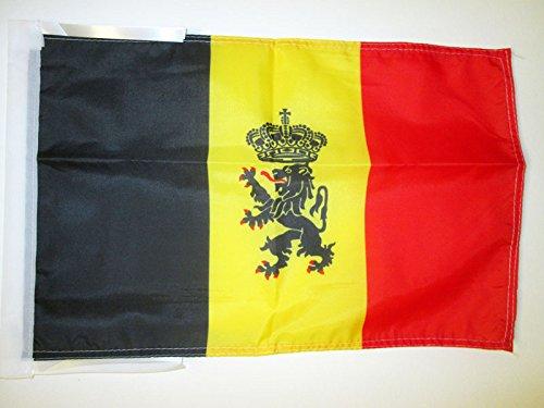 AZ FLAG Bandera de BÉLGICA con Leon 45x30cm - BANDERINA Belga con Armas 30 x 45 cm cordeles