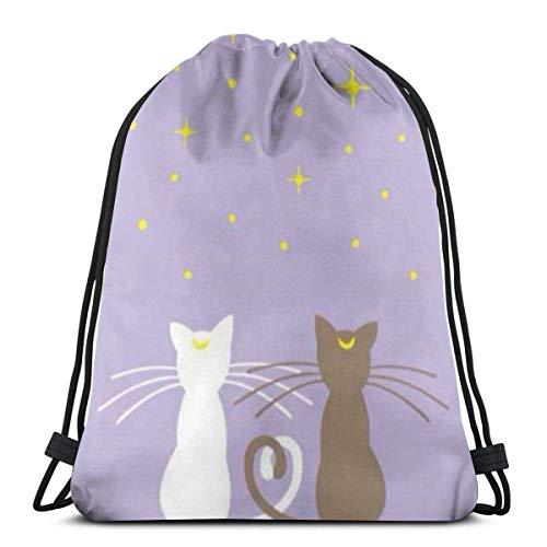 zicheng Classic Drawstring Bag-Moon Cats Gym Backpack Shoulder Bags Sport Storage Bag for Man Women