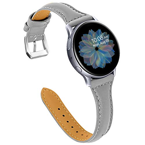 Joyozy Leather Bands Compatible with Samsung Galaxy Watch Active(40mm)/2(40mm), (44mm)/Galaxy Watch3 (41mm)/Galaxy Watch 42mm, Genuine Leather Wristband Strap 20mm Quick Release Band- Gray/Silver