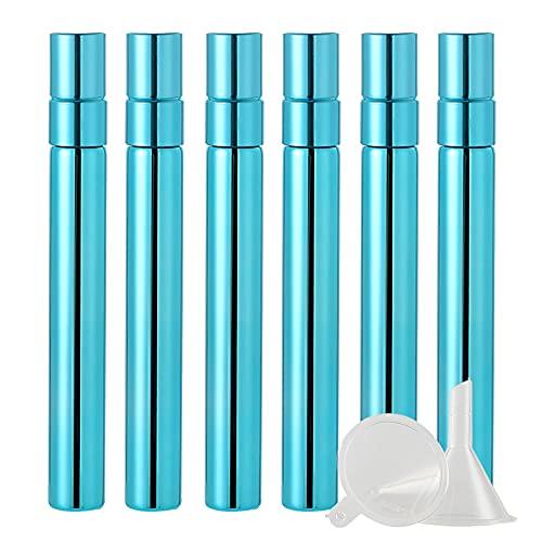 BasicPacking 24 Pieza 10ml Perfume Frasco de Cristal Azul Brillante con Pulverizador para Perfume,Mini Botella de Vidrio con Bomba en Spray Atomizador, Recargable + 6 x Embudo
