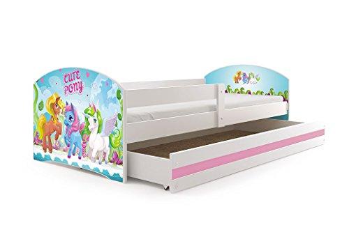 Interbeds Lit Enfant LUKI 160x80 avec sommier, Matelas et tiroir-Coffre en Blanc + Le Sticker Choisi (Blanc+Pony)