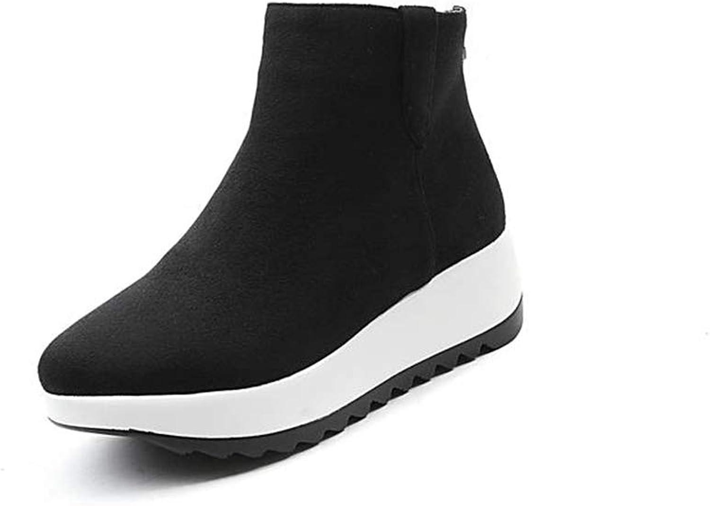 Zarbrina Womens Wedge Platform Ankle Boots Round Toe Rubber Sole Short Plush Flock an-ti Slip Zipper Up Winter Warm shoes