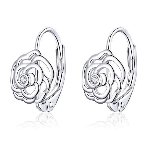 Qings Sparkling Rose Flower Hoop Earrings 925 Sterling Silver Love Tiny Inlaid Cubic Zirconia as Gift for Women and Girls