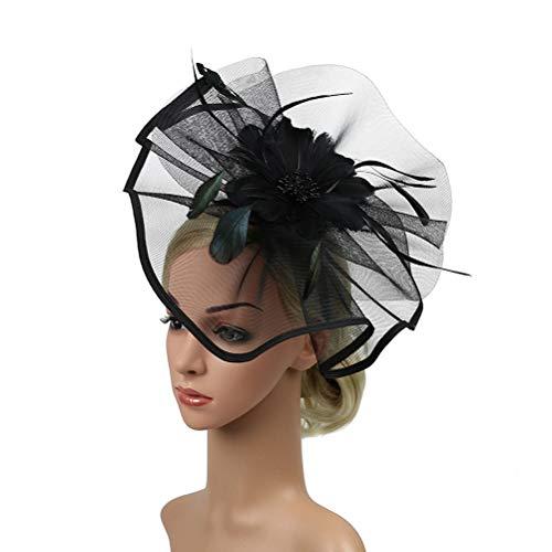 Lurrose Boda fascinator sombrero flor malla tocado cóctel cabeza pieza para mujeres...
