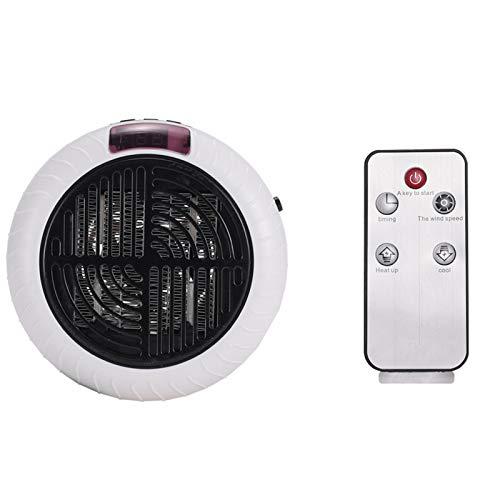 KAISUN Portátil Calefactor Eléctrico, Mini Calentador De Ventilador, Ventilador Calefactor Eléctrico PTC Cerámica,Aire Frio Y Caliente para Hogar Oficina (Mando a Distancia Blanco 900W)