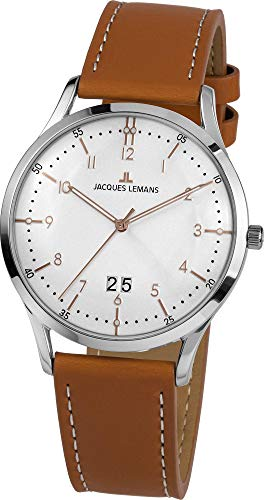 Jacques Lemans Herren-Uhren Analog Quarz One Size Braun 32016391